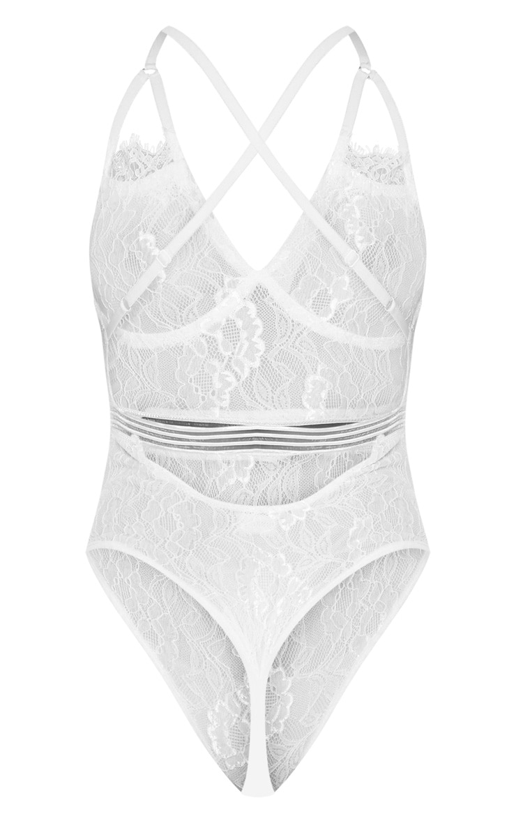 Emsie White Cut Out Detail Lace Thong Bodysuit 4