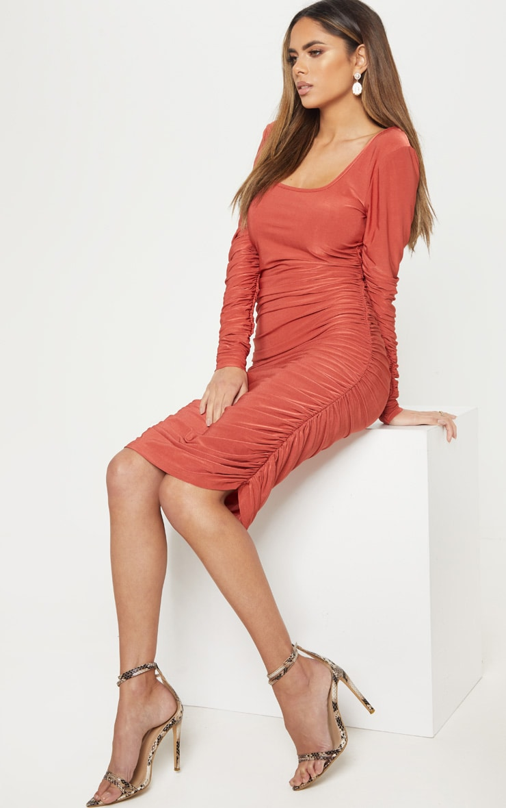 Rust Square Neck Ruched Detail Bodycon Dress 4