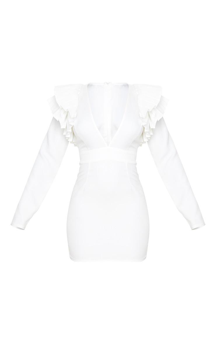 Robe moulante décolletée blanche à manches longues et épaule plissée 5
