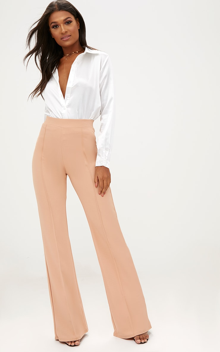 Sand Front Seam Wide Leg Trousers 1