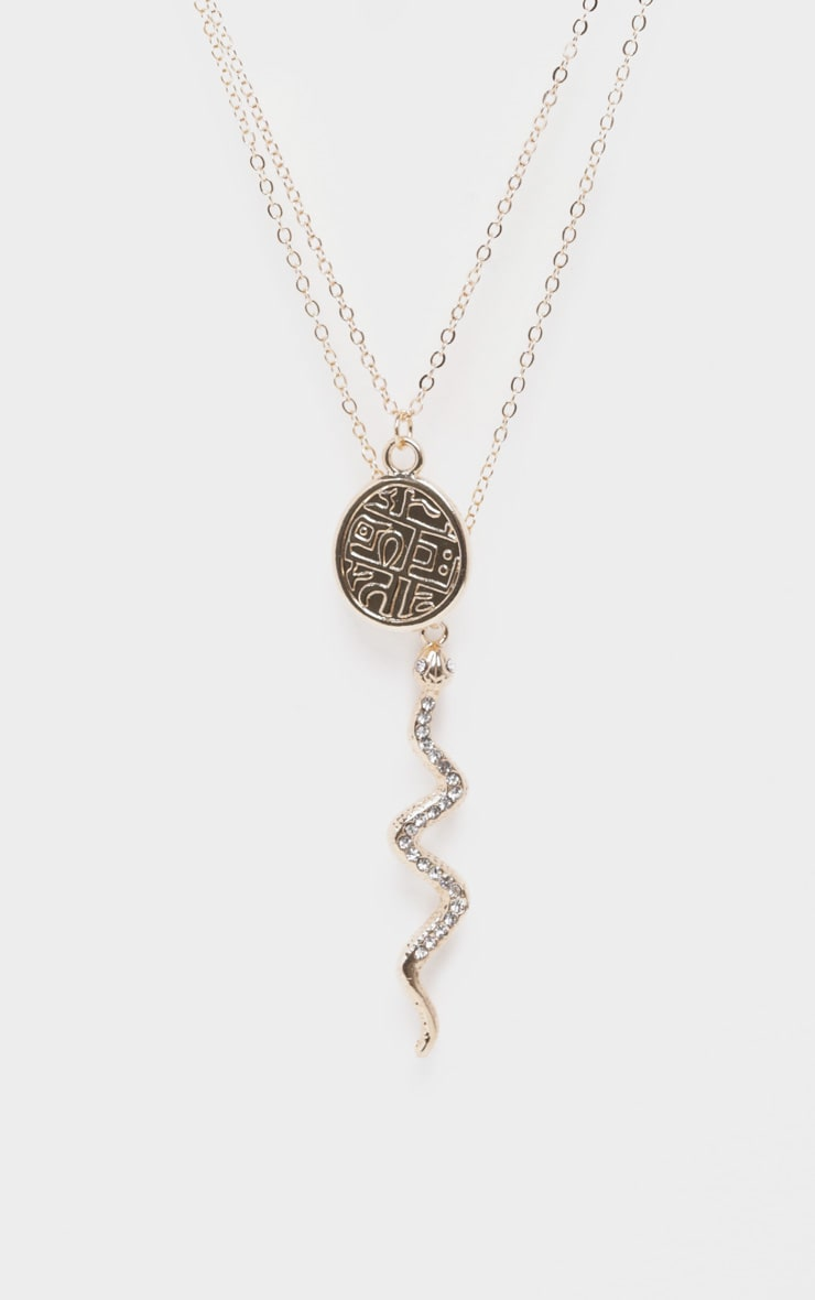 Diamante Snake And Penny Charm Layering Necklace 4
