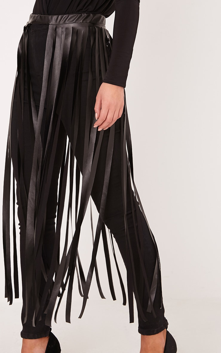 Dee Black Faux Leather Extreme Fringe Belt 2