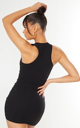 Black Linen Sleeveless Asymmetric Ruched Bodycon Dress 2