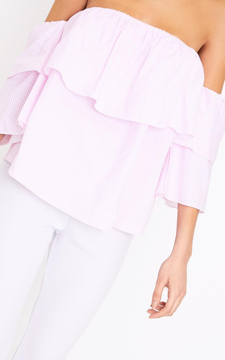 53583e7656747d Kaarina Pink Stripe Bardot Shirt image 5