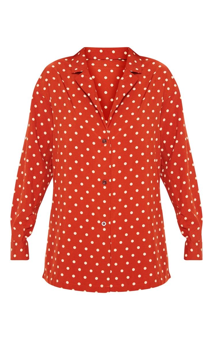 Rust Polka Dot Button Shirt 3