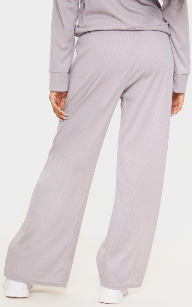 Petite Grey Ribbed Split Hem Flared Pants 3