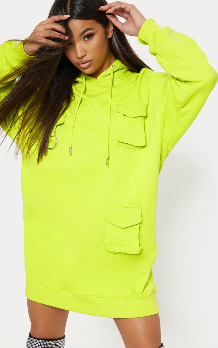 Neon Green Pocket Front Hoodie Dress 1