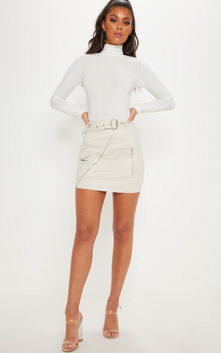 Cream Faux Suede Belted Biker Mini Skirt 1