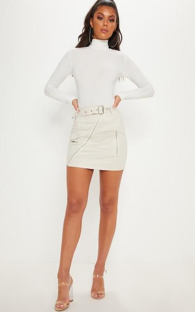 36f1c8ebd7 Cream Faux Suede Belted Biker Mini Skirt