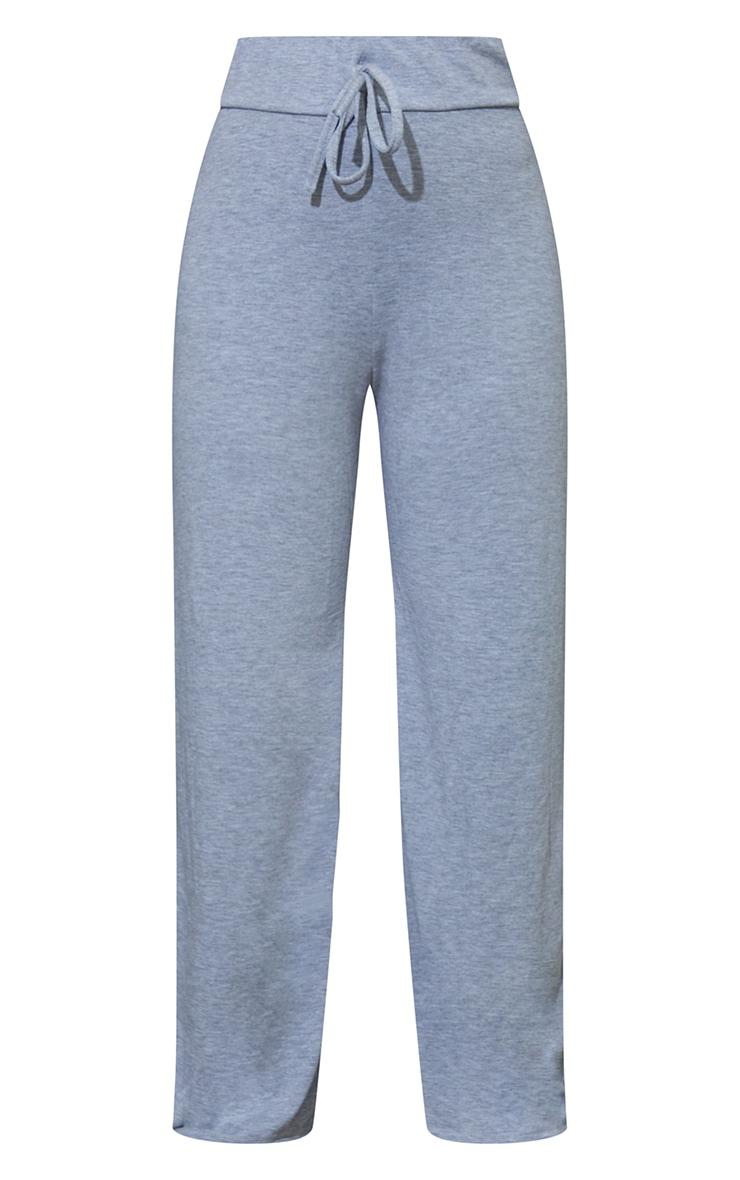 Petite Grey Drawstring Jersey Wide Leg Joggers 5