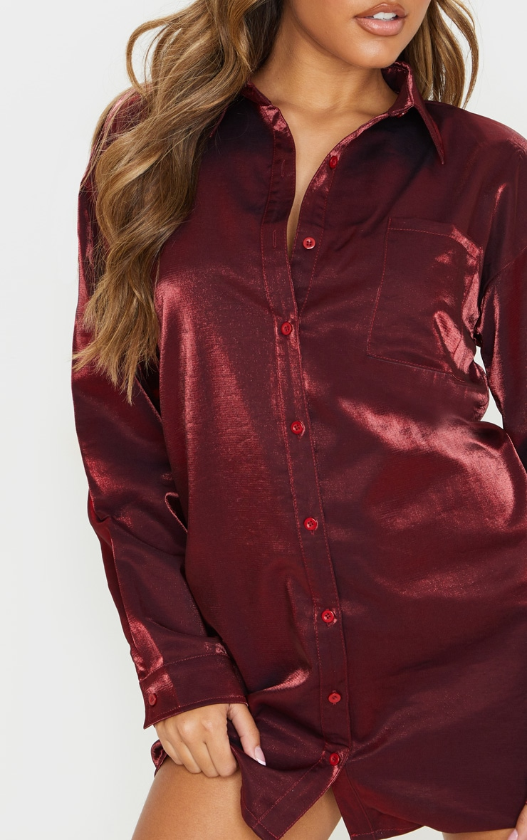 Red Metallic Shirt Dress 5