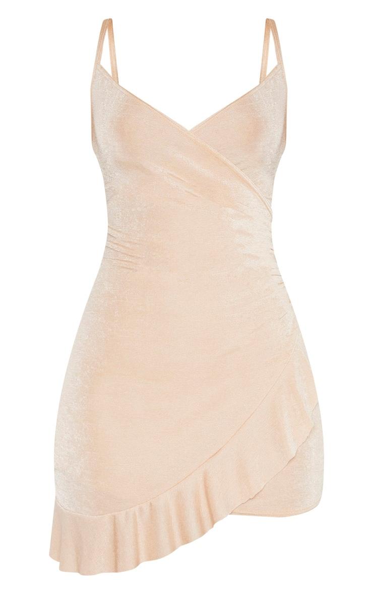 Champagne Textured Slinky Frill Hem Strappy Bodycon Dress 3