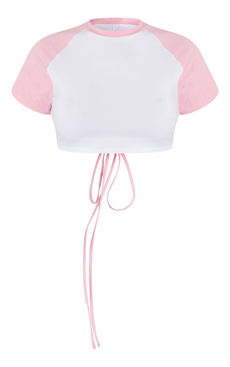 Pink Raglan Backless Tie Short Sleeve Crop T Shirt 5
