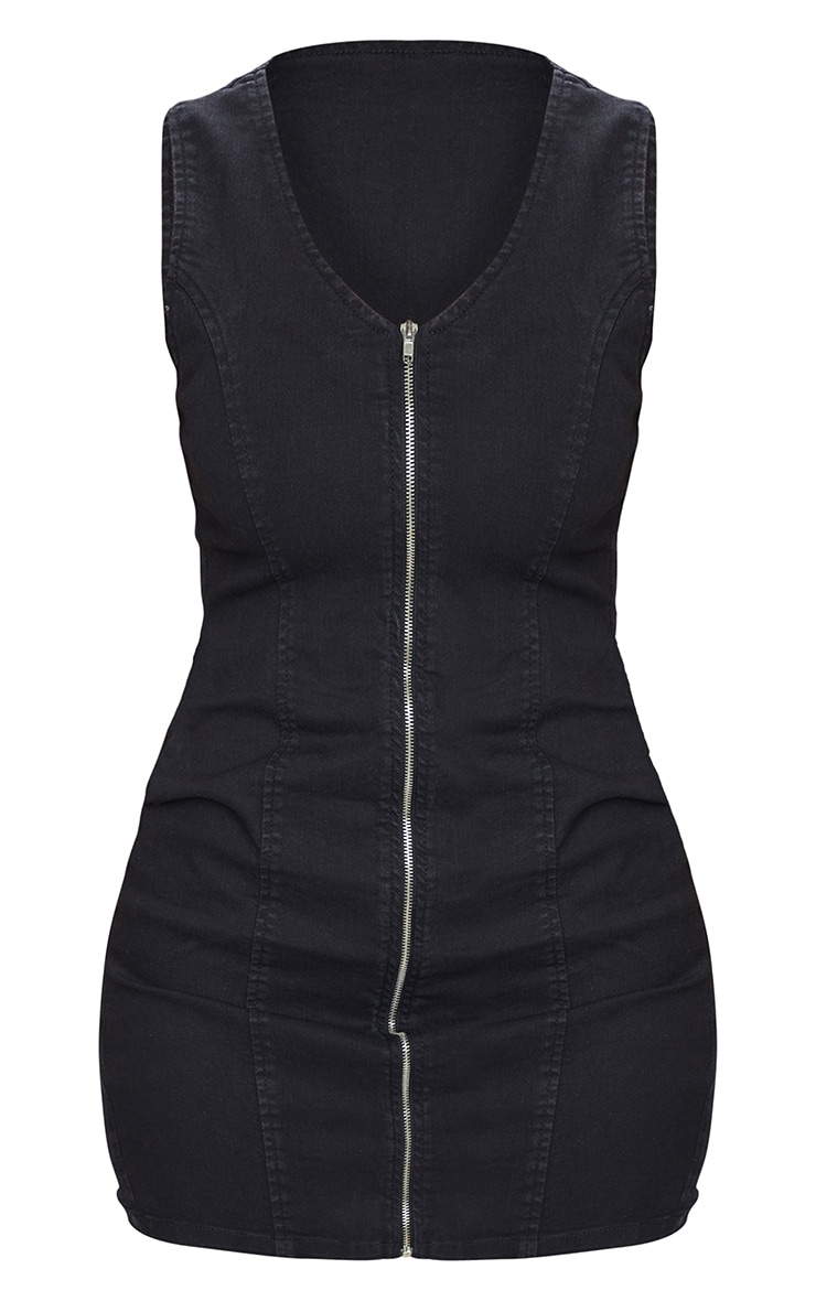 Shape Black Denim Zip Front Bodycon Dress 5