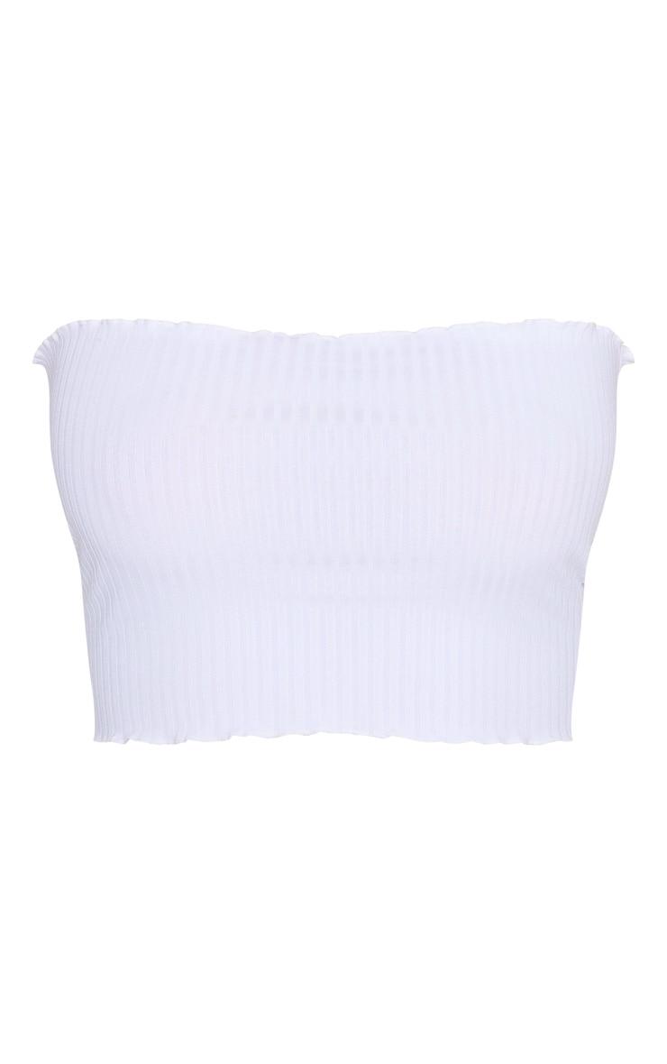 White Rib Frill Hem Bandeau Crop Top 3