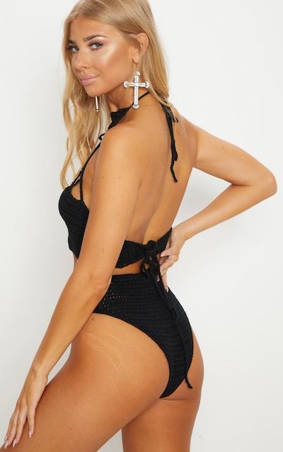 Black Crochet Beaded Bikini