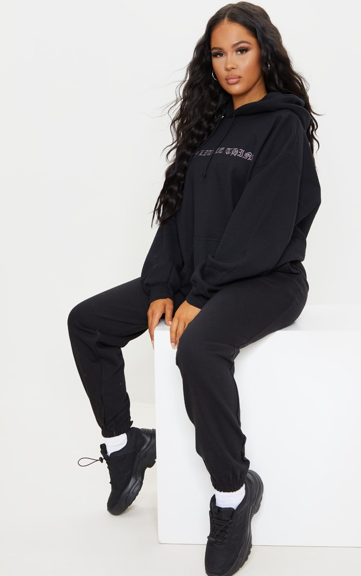 PRETTYLITTLETHING Black Diamante Slogan Hoodie 3