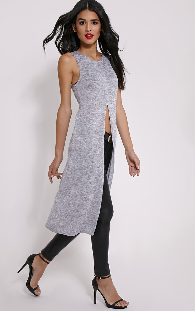Tessa Grey Sleeveless Split Front Top 1