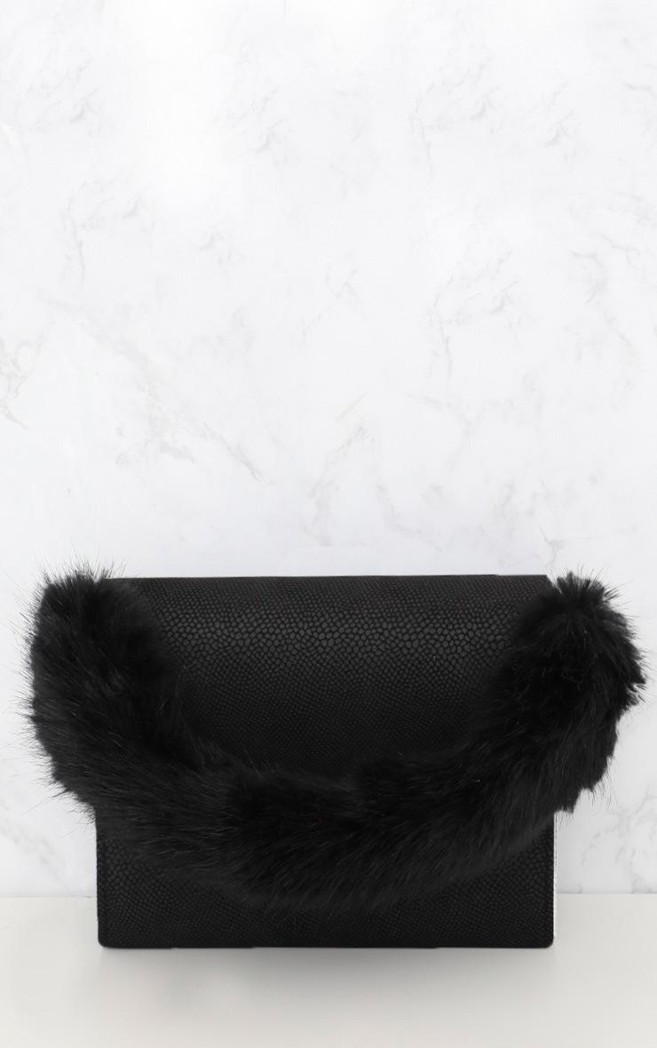 Black Faux Fur Handle Shoulder Bag 4