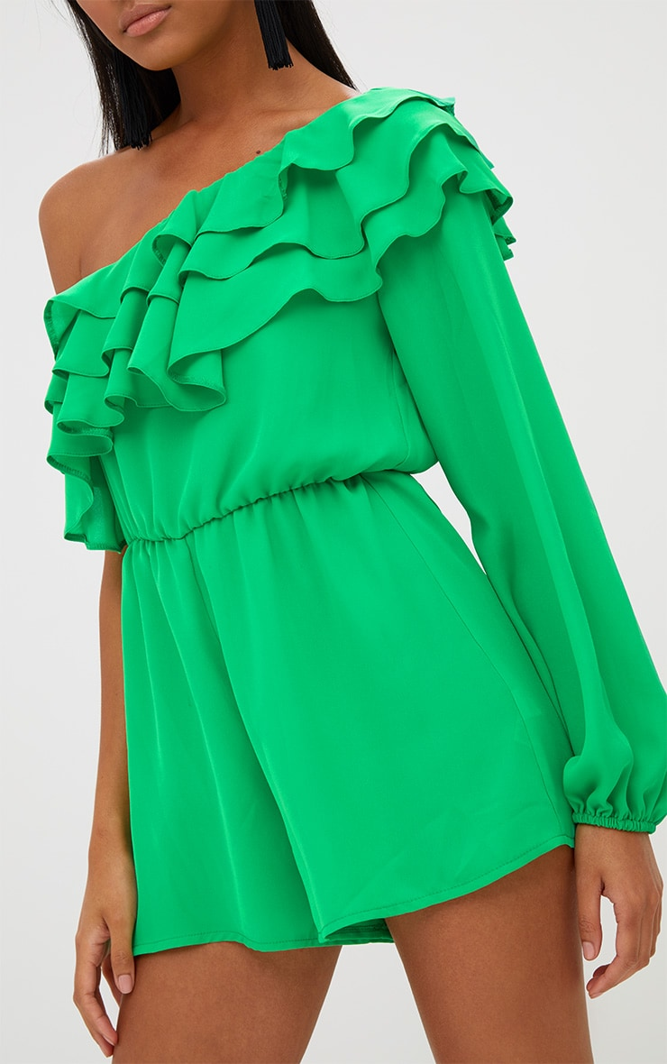 Green Ruffle One Shoulder Playsuit 5