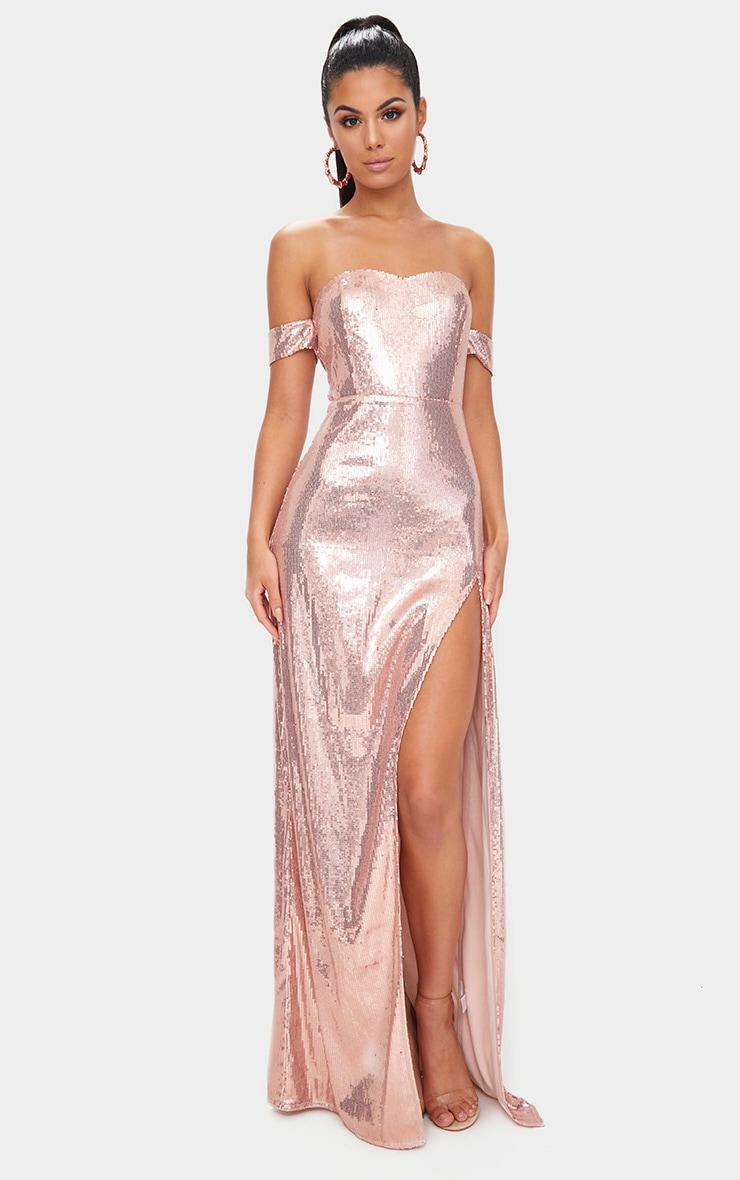 Robe maxi bardot à sequins or rose 1