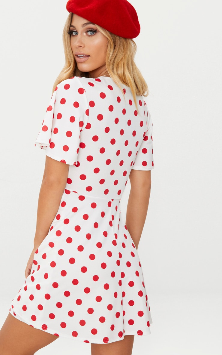 Red Polka Dot Cut Out Ruched Detail Swing Dress 2