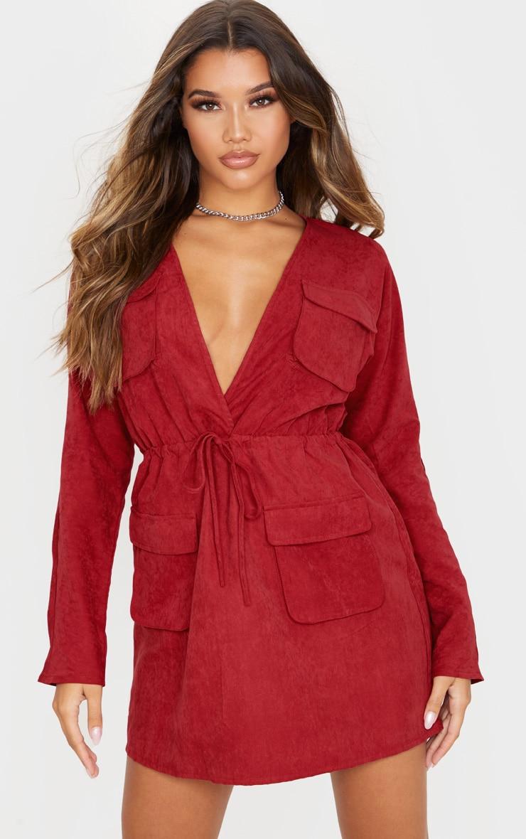 Burgundy Pocket Detail Tie Waist Utility Dress 4