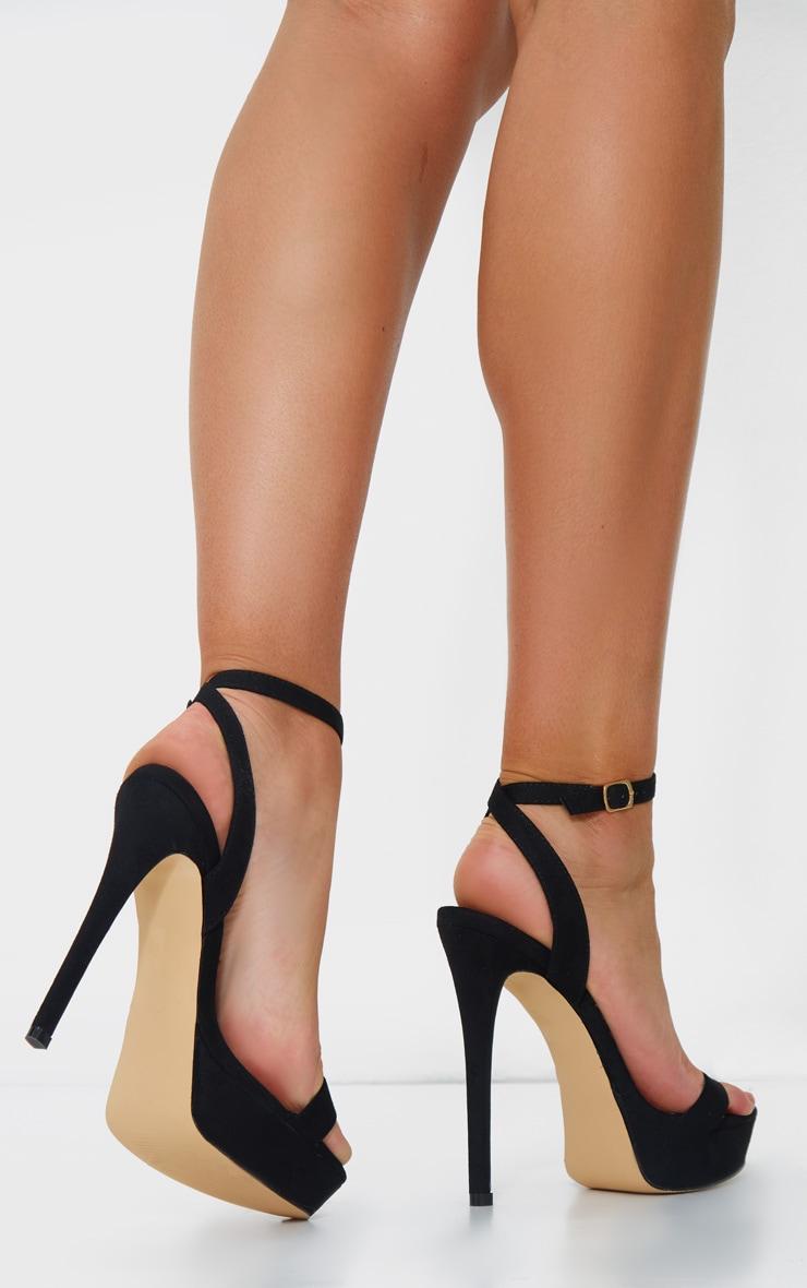 Black Faux Suede Platform Stiletto Heeled Sandals 2
