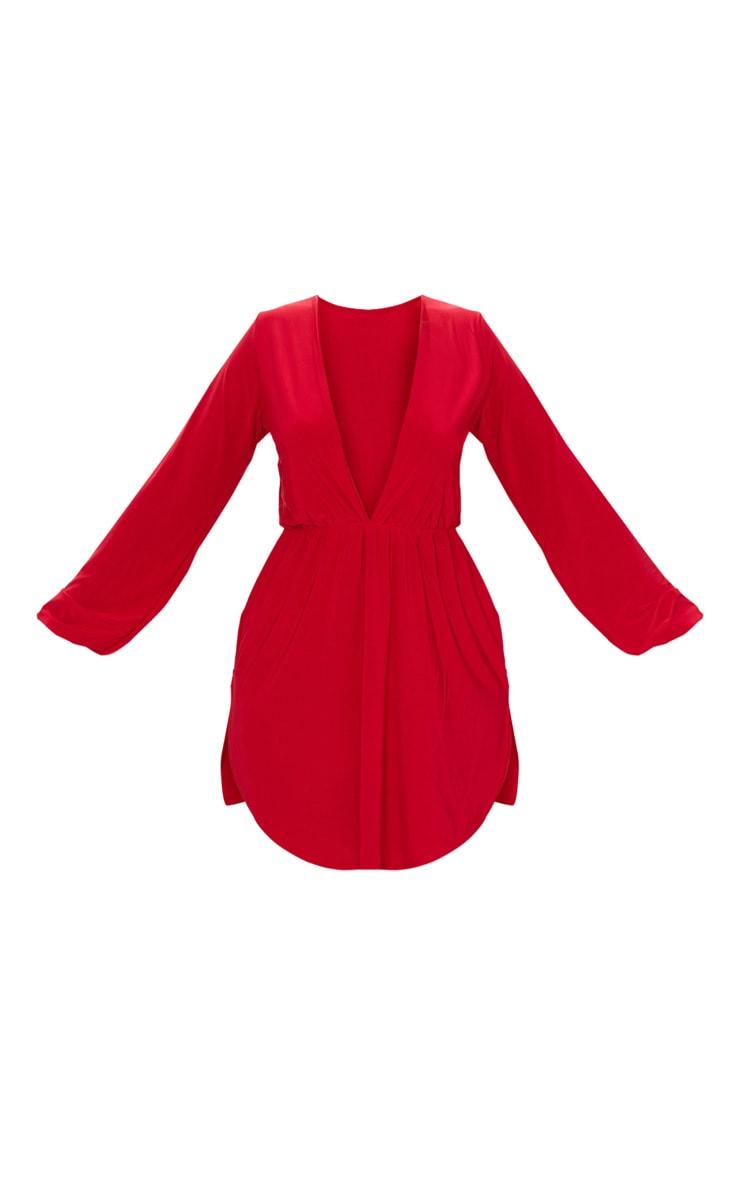 Red Slinky Plunge Extreme Split Shift Dress 4