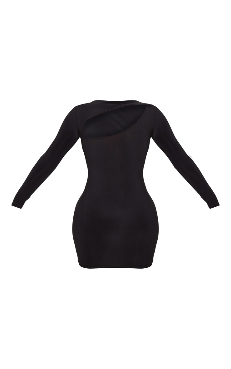 Black Slinky Long Sleeve Bodice Cut Out Bodycon Dress 3