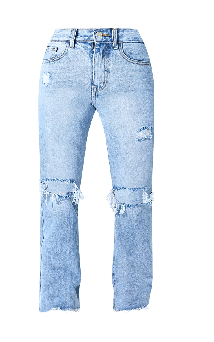 PRETTYLITTLETHING Petite Light Blue Wash Distressed Long Leg Straight Jean 6