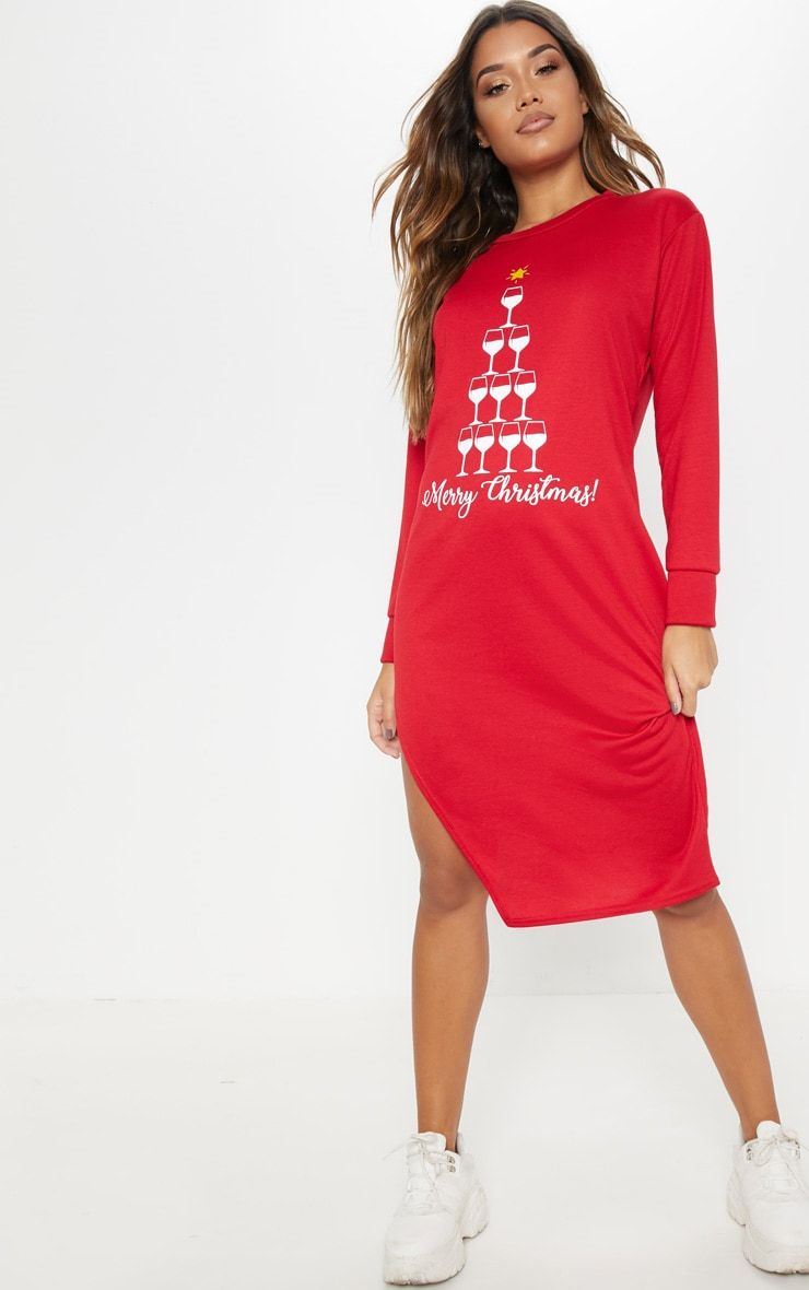 Red Merry Christmas Midi Jumper Dress 4