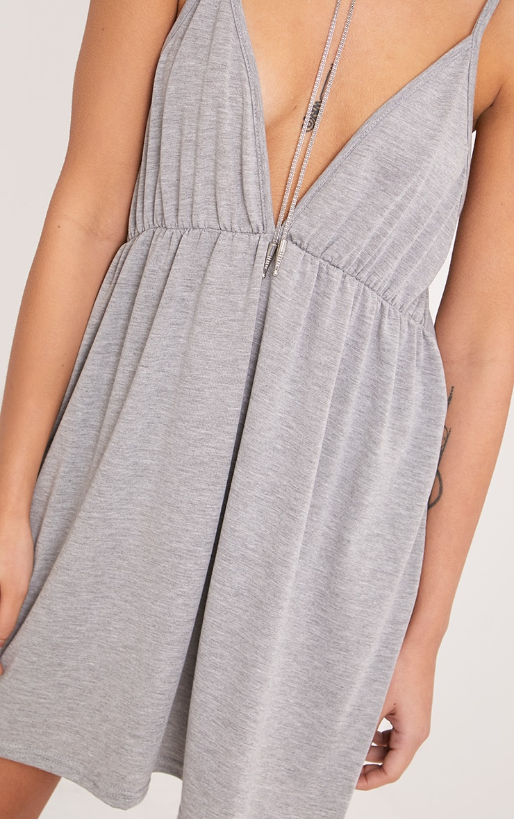 Corinia Ruched Grey Marl Jersey Swing Dress 5
