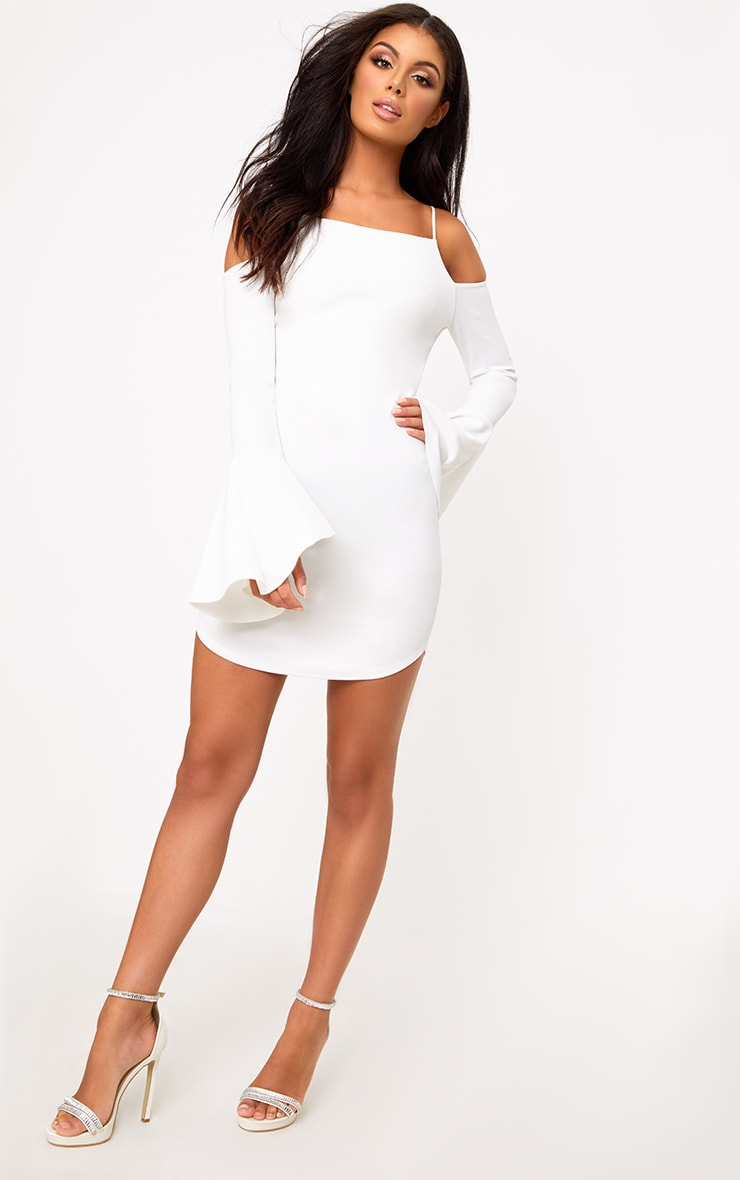 White Cold Shoulder Flared Sleeve Bodycon Dress 4