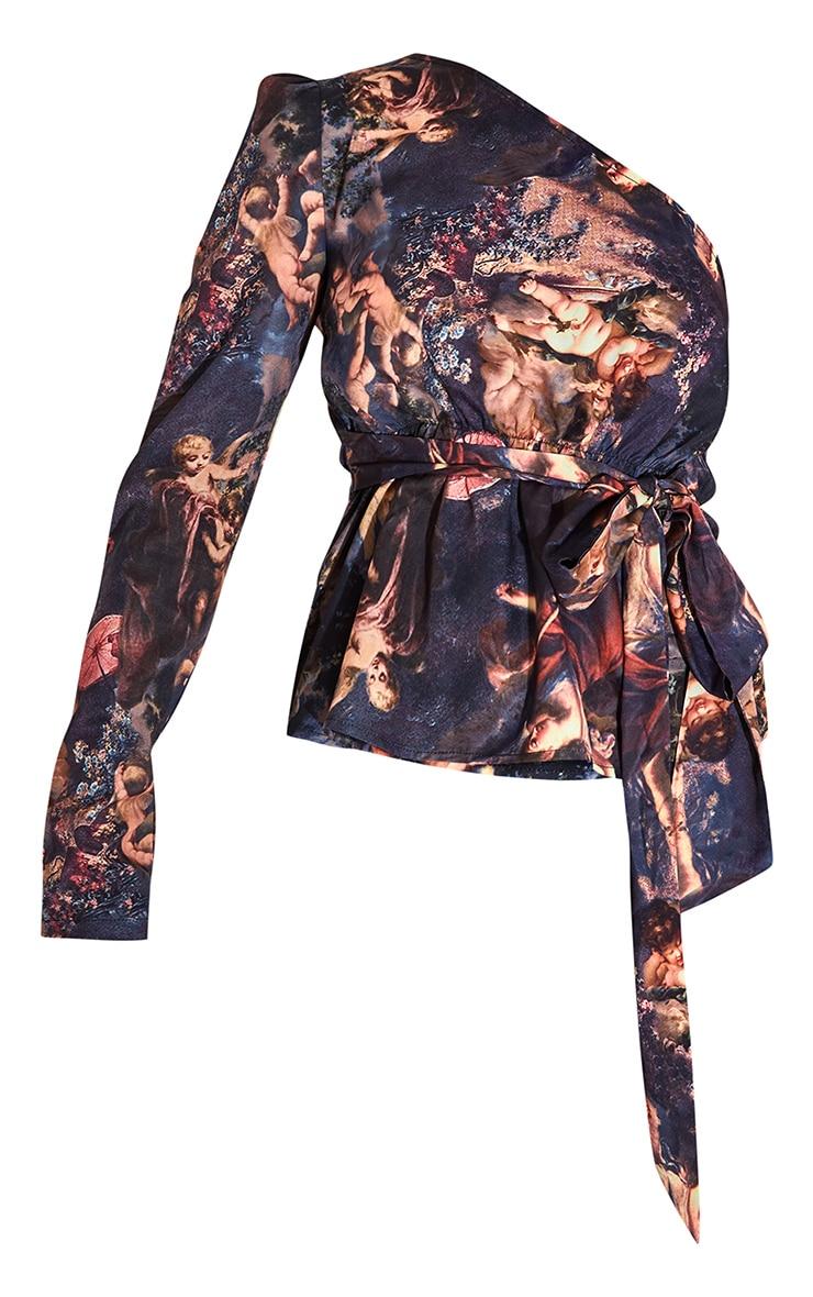 Brown Renaissance One Shoulder Belted Blouse 5