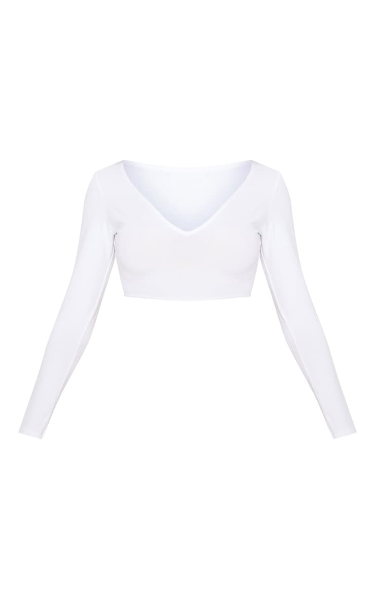 Basic White Long Sleeve Deep V Crop Top 3