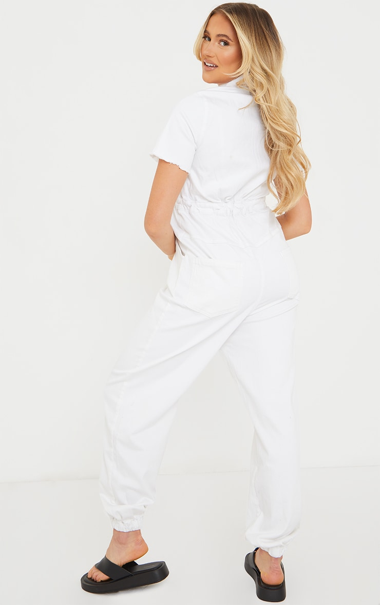 Maternity White Denim Contrast Seam Short Sleeve Jumpsuit  2