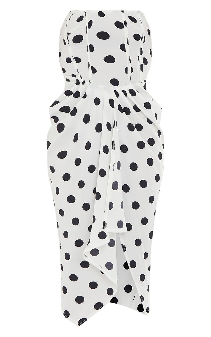 White Polka Dot Corset Draped Bandeau Midi Dress 5