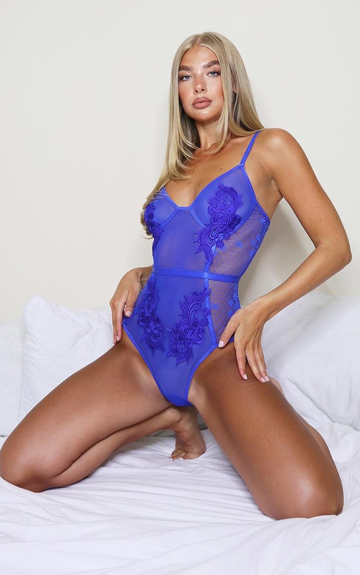 Cobalt Lace Applique Mesh Body 1