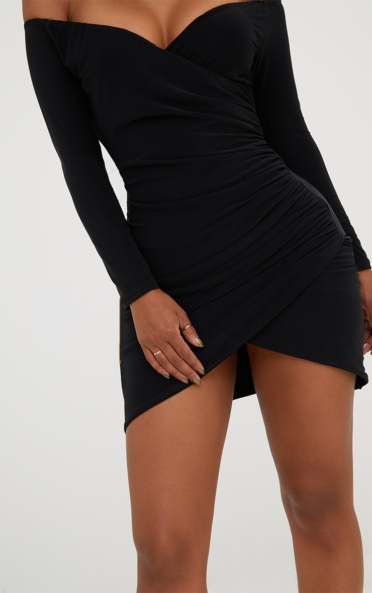 Shape Black Ruched Bardot Bodycon Dress 6