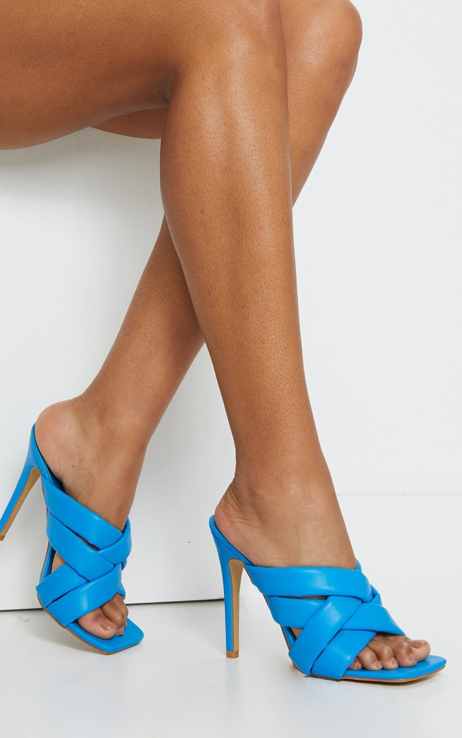 Blue Quilted Woven Strap High Mule Heels 2