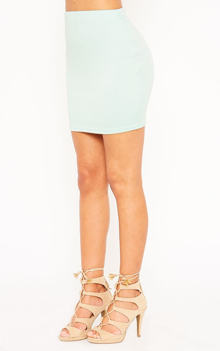 Basic Mint Scuba Mini Skirt 3