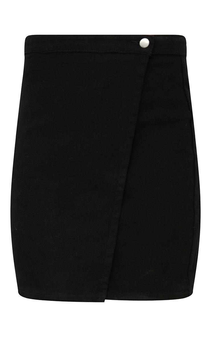 Black Denim Wrap Mini Skirt 3