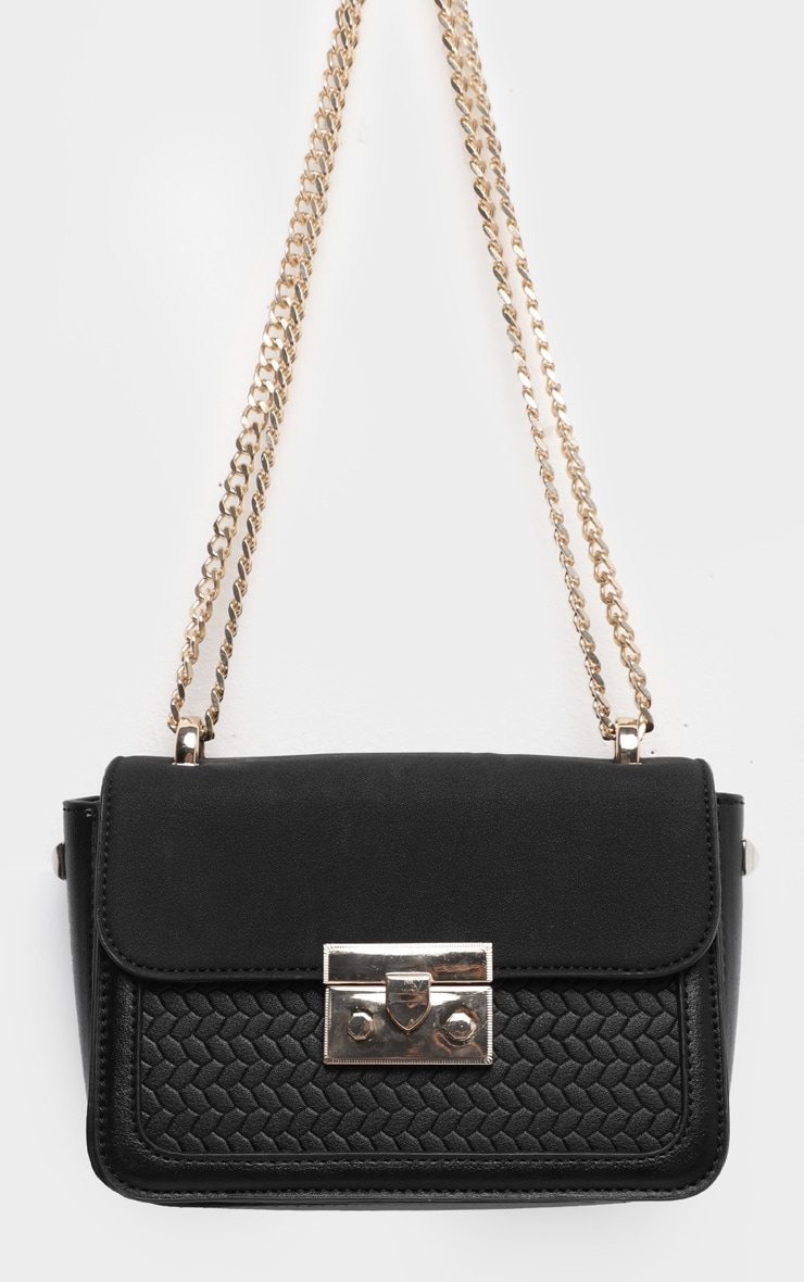 Black Pu Gold Lock Trim Cross Body Bag 2