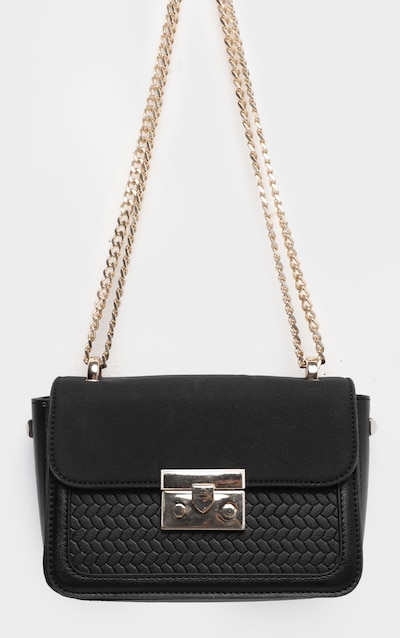 Black Pu Gold Lock Trim Cross Body Bag