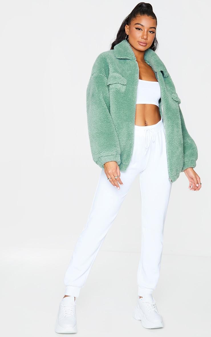 Green Long Faux Fur Oversized Collar Jacket 3