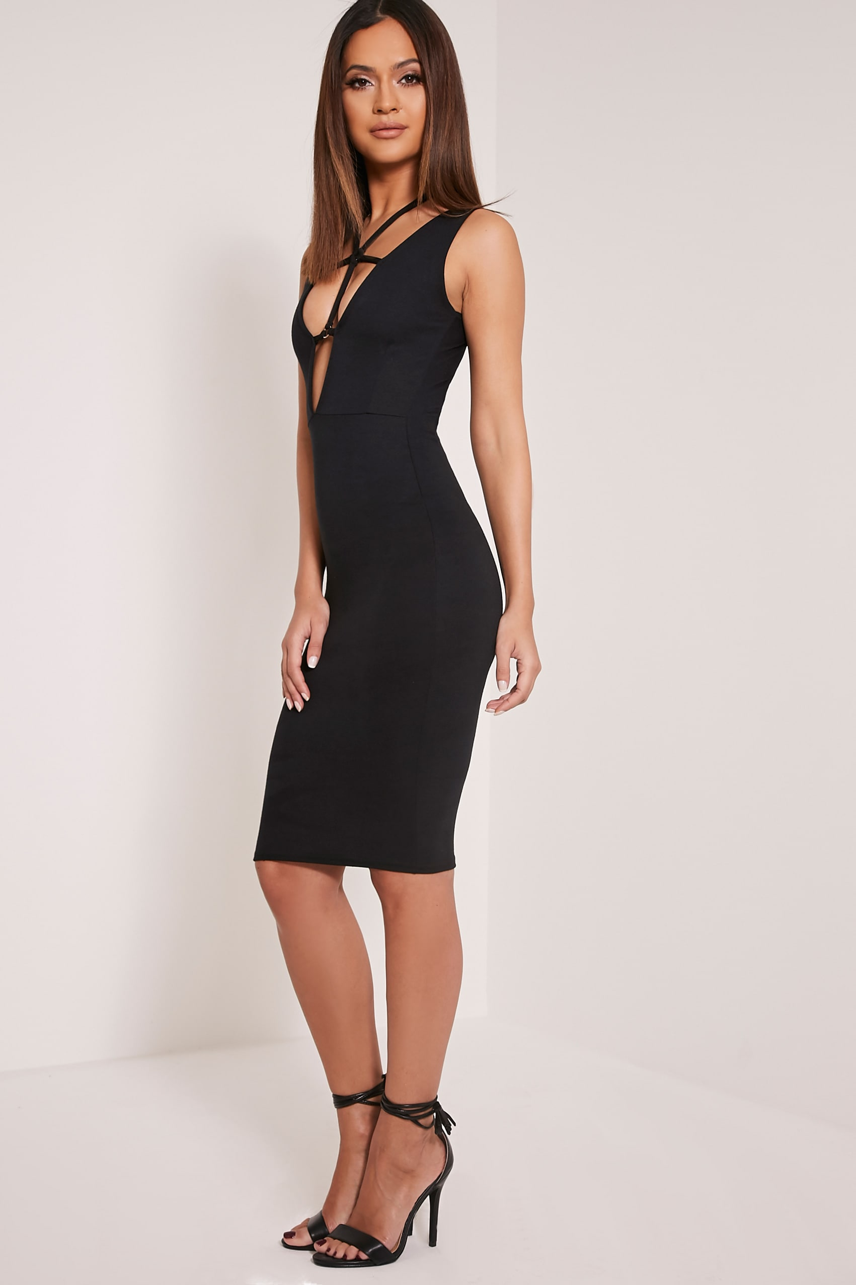 Raynie Black Sleeveless Harness Midi Dress 4