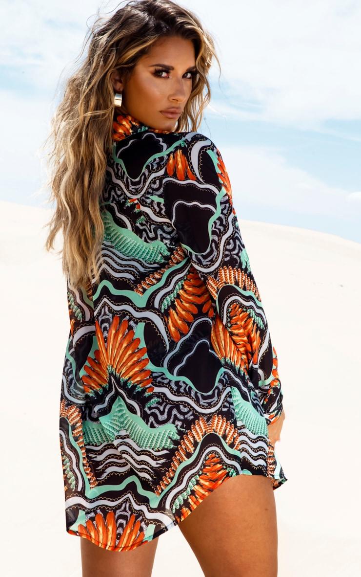 Chemise de plage à imprimé tribal noir 2