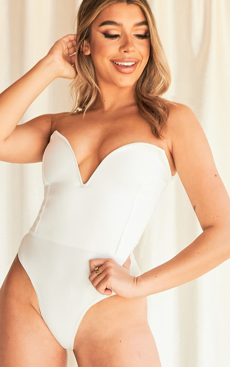 White Crepe Sweetheart V Wire Bandeau Bodysuit 4