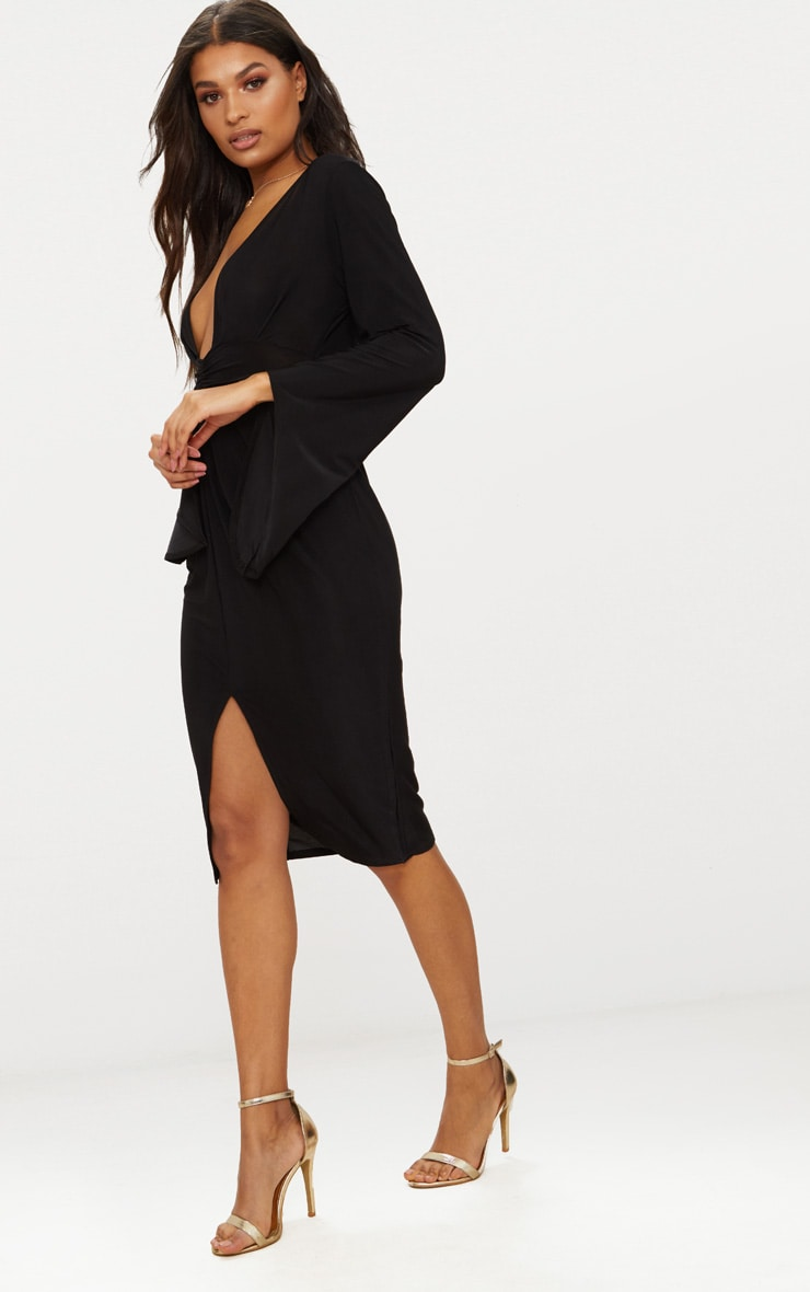 Black Flare Sleeve Ruched Panel Midi Dress 3